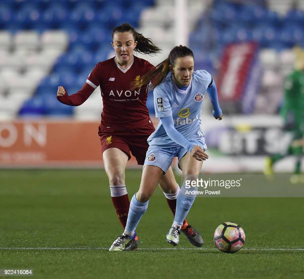 Caroline Weir of Liverpool Ladies competes with Lucy Stanifourth of Sunderland Ladies during the FA WSL match between Liverpool Ladies and Sunderland...