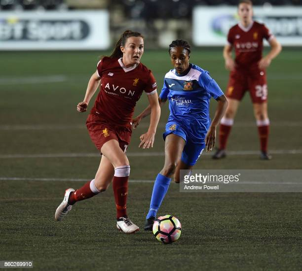 Caroline Weir of Liverpool Ladies competes with Melissa Johnson of Sheffield FC Ladies during the Women's Super League match between Liverpool Ladies...