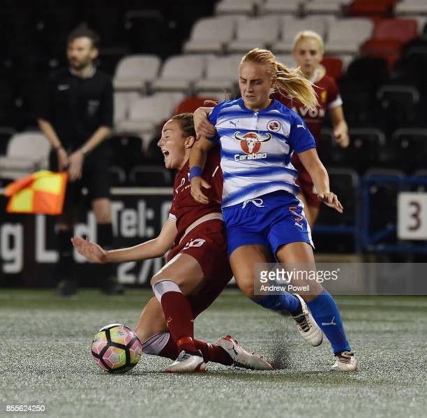 Caroline Weir of Liverpool Ladies competes with Molly Bartrip of Reading FC Women during the Women's Super League match between Liverpool Ladies and...