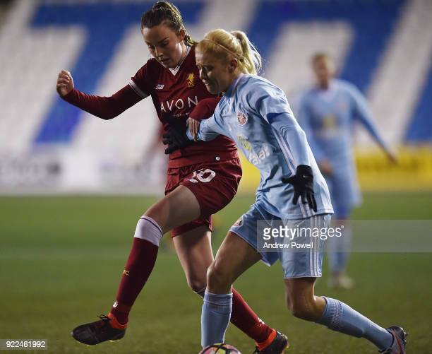 Caroline Weir of Liverpool Ladies competes with Rachel Pitman of Sunderland Ladies during the FA WSL match between Liverpool Ladies and Sunderland...