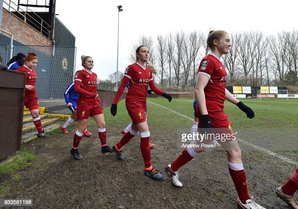 Caroline Weir of Liverpool Ladies during the SSE Women's FA Cup Quarter Final match between Liverpool Ladies and Chelsea Ladies at Prescot Cables on...