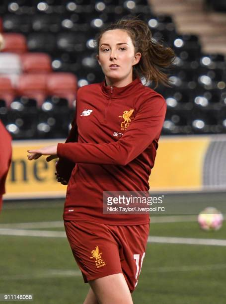 Caroline Weir of Liverpool Ladies during the warmup before the Liverpool Ladies v Bristol City Women WSL game at Select Security Stadium on January...