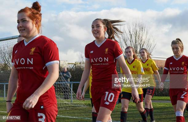 Caroline Weir of Liverpool Ladies makes her way to the pitch at the start of the SSE Women's FA Cup match between Liverpool Ladies and Watford Ladies...