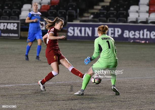 Caroline Weir of Liverpool Ladies scores the opening goal during the Women's Super League match between Liverpool Ladies and Sheffield FC Ladies at...