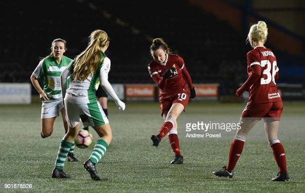 Caroline Weir of Liverpool Ladies scoring the fourth goal during the FA Women's Super League match between Liverpool Ladies and Yeovil Town Ladies at...