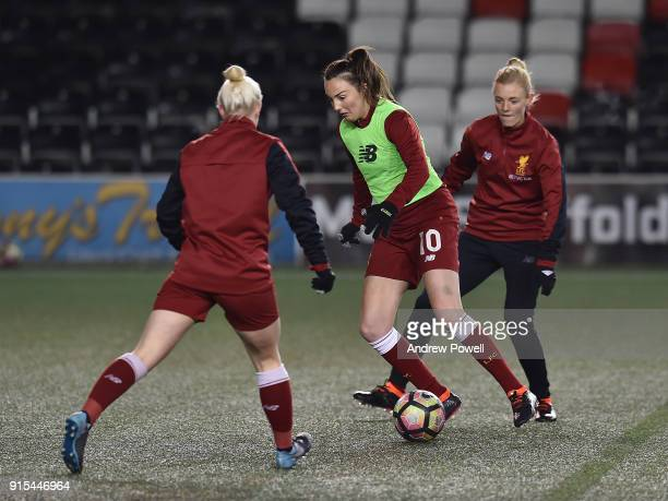 Caroline Weir of Liverpool Ladies warming up before the Women's Super League match between Liverpool Ladies and Arsenal Women at Select Security...