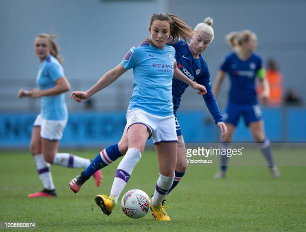 Caroline Weir of Manchester City and Bethany England of Chelsea in action during the Barclays FA Women's Super League match between Manchester City...