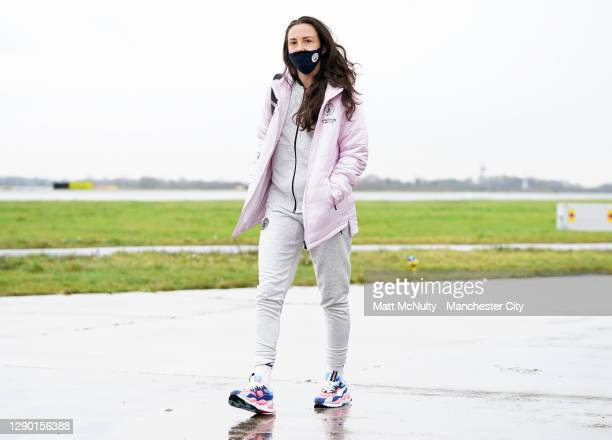 Caroline Weir of Manchester City boards the team flight at Manchester Airport for the trip to Gothenburg on December 08, 2020 in Manchester, England.