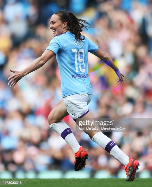 Caroline Weir of Manchester City celebrates after scoring her teams first goal during the Barclays FA Women's Super League match between Manchester...