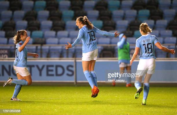 Caroline Weir of Manchester City celebrates with Georgia Stanway after scoring their team's second goal during the Barclays FA Women's Super League...