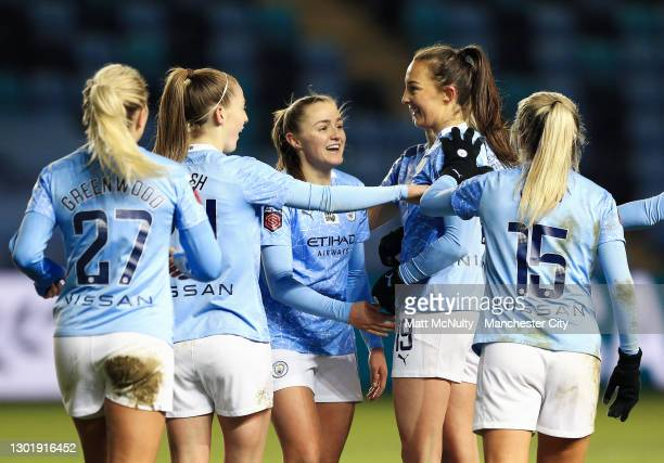 Caroline Weir of Manchester City celebrates with teammates after scoring her teams third goal during the Barclays FA Women's Super League match...