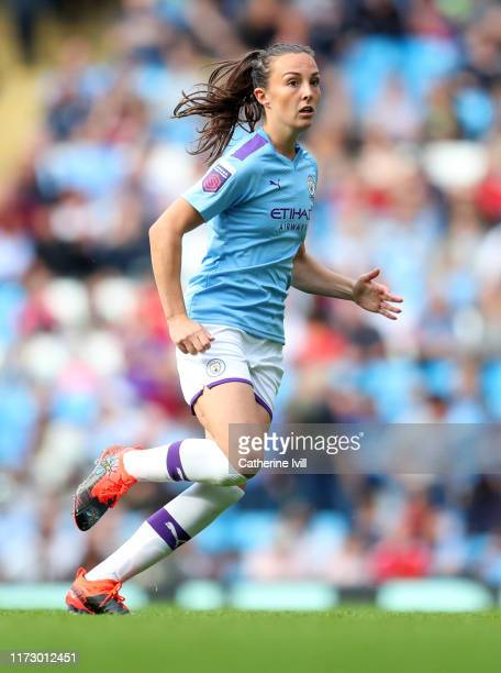 Caroline Weir of Manchester City during the Barclays FA Women's Super League match between Manchester City and Manchester United at Etihad Stadium on...