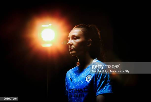 Caroline Weir of Manchester City poses wearing the 2020/21 Puma home jersey at the City Football Academy on August 03 2020 in Manchester England