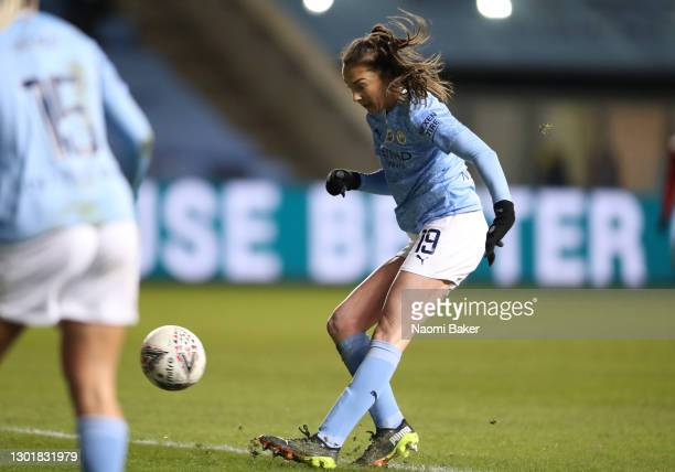 Caroline Weir of Manchester City scores her sides third goal during the Barclays FA Women's Super League match between Manchester City Women and...