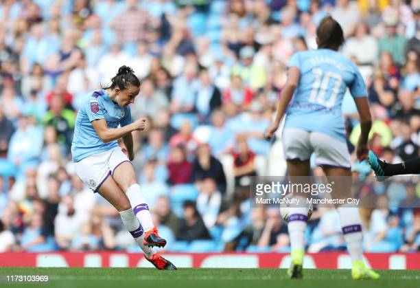 Caroline Weir of Manchester City scores her teams first goal during the Barclays FA Women's Super League match between Manchester City and Manchester...