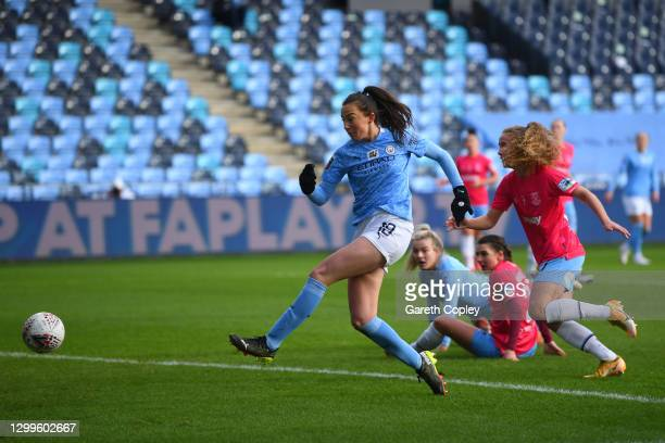 Caroline Weir of Manchester City scores their sides first goal during the Barclays FA Women's Super League match between Manchester City Women and...