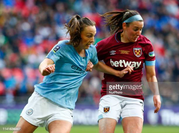 LR Caroline Weir of Manchester City WFC and and Erin Simon of West Ham United WFC during The SSE Women's FA Cup Final match between Manchester City...