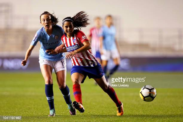 Caroline Weir of Manchester City Women battles for possession with Kenti Robles of Atletico de Madrid during the Womens UEFA Champions League 2nd Leg...