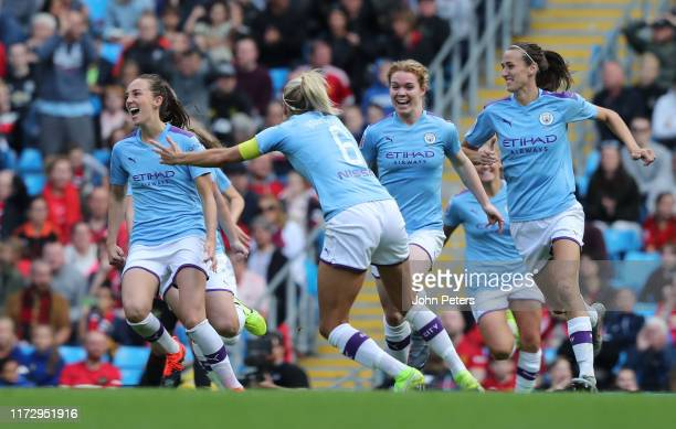 Caroline Weir of Manchester City Women celebrates scoring their first goal during the Barclays FA Women's Super League match between Manchester City...