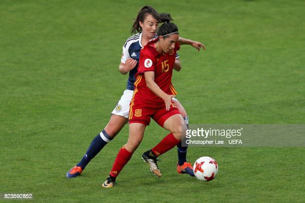 Caroline Weir of Scotland and Silvia Meseguer of Spain battle for possession during the Group D match between Scotland and Spain during the UEFA...