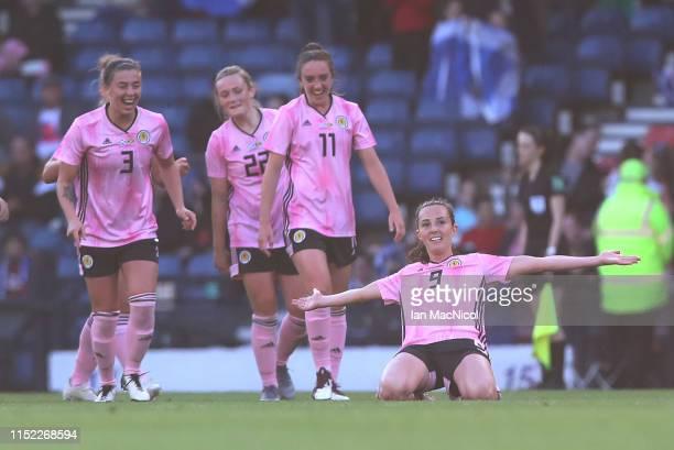 Caroline Weir of Scotland celebrates after scoring her team's second goal during the Women's International Friendly match between Scotland and...