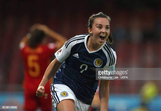 Caroline Weir of Scotland celebrates scoring their first goal during the UEFA Women's Euro 2017 Group D match between Scotland and Spain at Stadion...