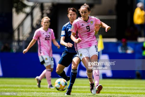 Caroline Weir of Scotland in action during the 2019 FIFA Women's World Cup France group D match between Japan and Scotland at Roazhon Park on June 14...