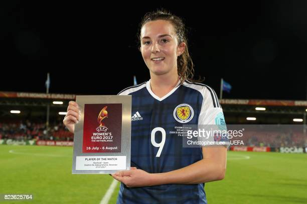 Caroline Weir of Scotland poses with her player of the match award after the Group D match between Scotland and Spain during the UEFA Women's Euro...