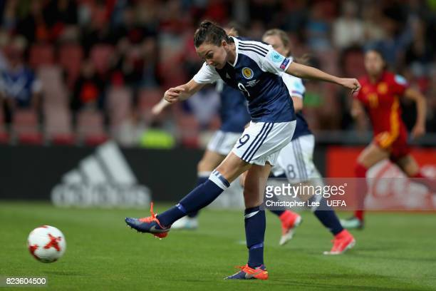 Caroline Weir of Scotland scores her sides first goal during the Group D match between Scotland and Spain during the UEFA Women's Euro 2017 at...