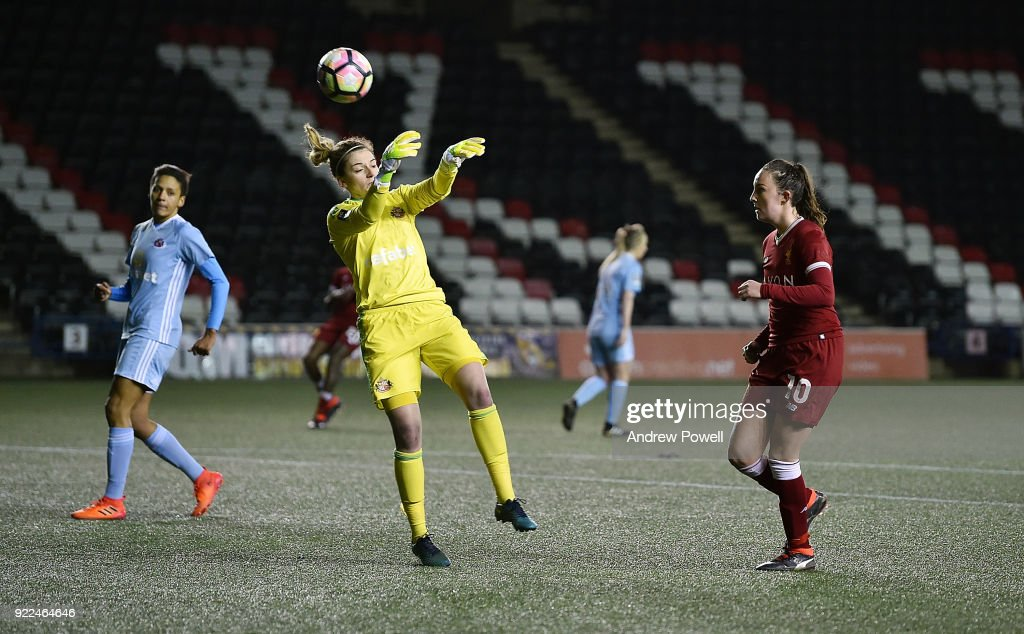 Caroline Wier of Liverpool Ladies scores an off-side goal during the FA WSL match between Liverpool Ladies and Sunderland Ladies at Select Security Stadium on February 21, 2018 in Widnes, England.