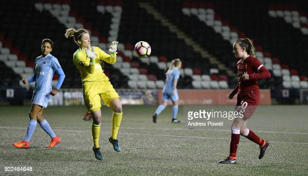 Caroline Wier of Liverpool Ladies scores an offside goal during the FA WSL match between Liverpool Ladies and Sunderland Ladies at Select Security...