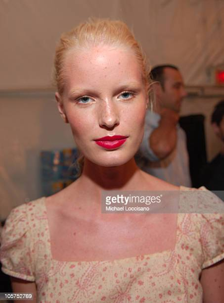 Caroline Winberg Backstage at Anna Sui during Olympus Fashion Week Spring 2006 Anna Sui Front Row and Backstage at Bryant Park in New York City New...