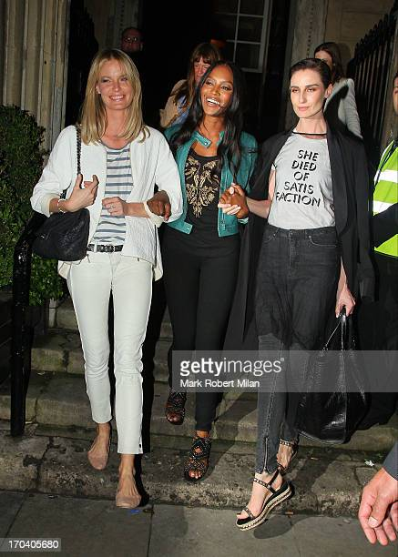 Caroline Winberg Naomi Campbell and Erin O'Connor leaving One Mayfair after filming The Face finale on June 12 2013 in London England