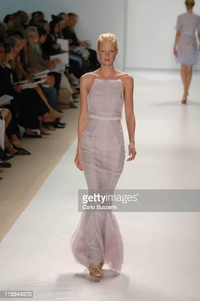 Caroline Winberg wearing J Mendel Spring 2006 during Olympus Fashion Week Spring 2006 J Mendel Runway at Bryant Park in New York City New York United...