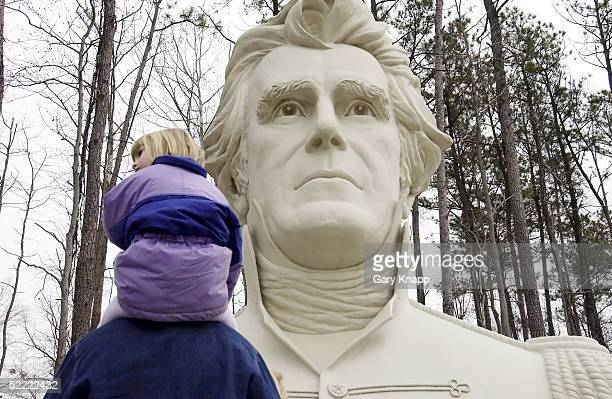 Caroline Wittich 5yearsold sits on her fathers shoulders as they stop and view the bust of President Andrew Jackson during a family trip to the...