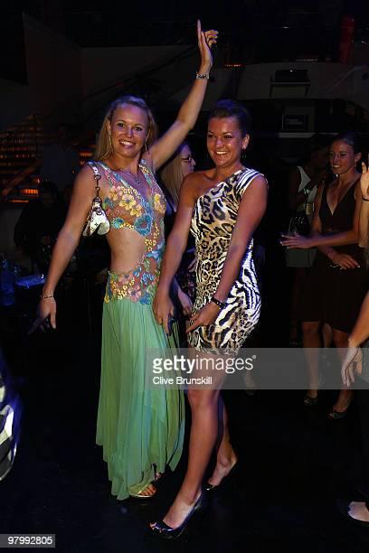 Caroline Wozniacki and Agnieszka Radwanska attend the Sony Ericsson Open KickOff party at LIV nightclub at Fontainebleau Miami on March 23 2010 in...