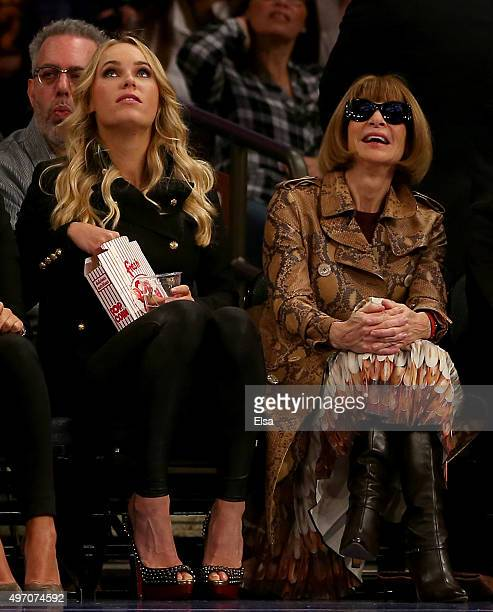 Caroline Wozniacki and Anna Wintour attend the game between the New York Knicks and the Cleveland Cavaliers at Madison Square Garden on November 13...