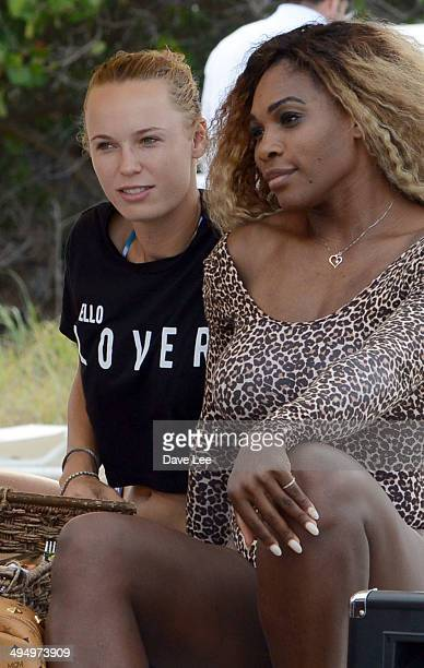 Caroline Wozniacki and Serena Williams are seen on Miami Beach on May 31 2014 in Miami Florida