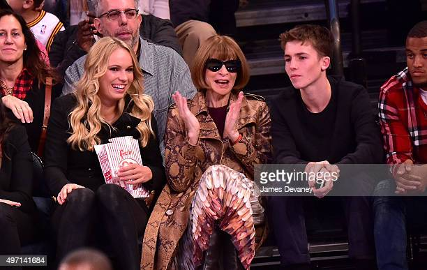 Caroline Wozniacki Anna Wintour and guest attend New York Knicks vs Cleveland Cavaliers game at Madison Square Garden on November 13 2015 in New York...