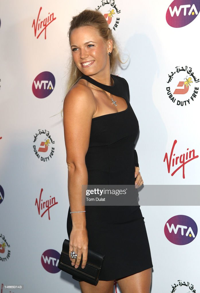 Caroline Wozniacki arrives at the WTA Tour Pre-Wimbledon Party at The Roof Gardens, Kensington on June 21, 2012 in London, England.