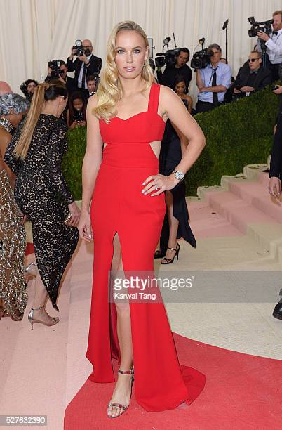 Caroline Wozniacki arrives for the Manus x Machina Fashion In An Age Of Technology Costume Institute Gala at Metropolitan Museum of Art on May 2 2016...