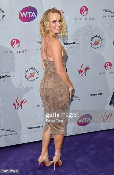 Caroline Wozniacki arrives for the WTA PreWimbledon Party at Kensington Roof Gardens on June 23 2016 in London England