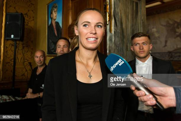 Caroline Wozniacki arrives to Copenhagen City Hall as guest of honour prior to this evenings exhibition match against Venus Williams on April 30 2018...
