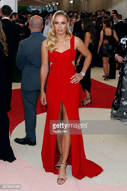 Caroline Wozniacki attends Manus x Machina Fashion in an Age of Technology the 2016 Costume Institute Gala at the Metropolitan Museum of Art on May...