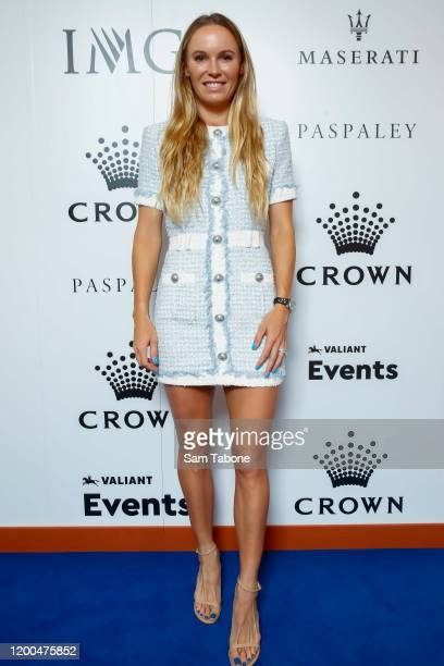 Caroline Wozniacki attends the Crown IMG Tennis Party on January 19, 2020 in Melbourne, Australia.