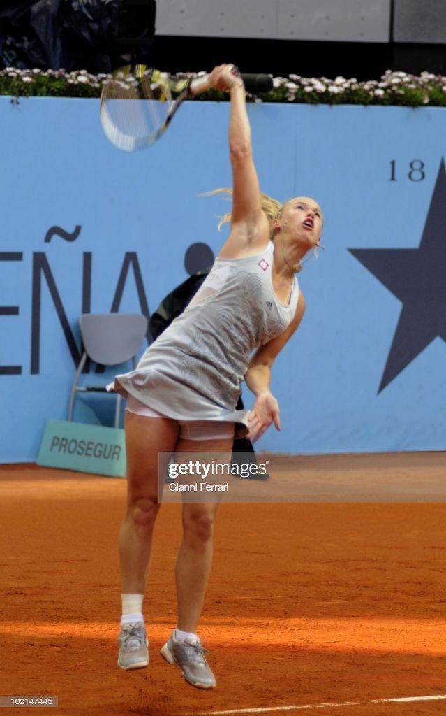 Caroline Wozniacki, DEN, tennis in 'Mutua Madrilena Madrid Open' , 8th May 2010, in 'La Caja Magica'. Madrid, Spain.