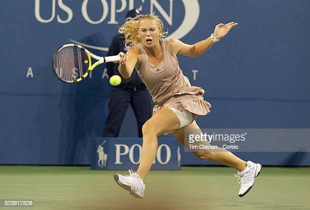 Caroline Wozniacki Denmark in action against Kim Clijsters Belgium during the Women's Singles Final at the US Open Tennis Tournament at Flushing...