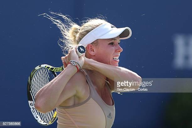Caroline Wozniacki Denmark in action against Shuai Peng China in the Women's Singles Semifinal during the US Open Tennis Tournament Flushing New York...