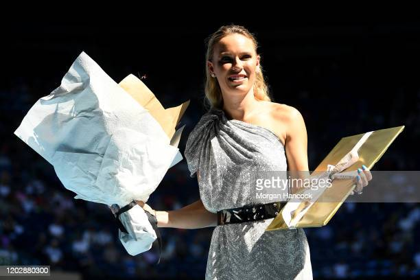 Caroline Wozniacki during the women's day ceremony on Rod Laver Arena on day eleven of the 2020 Australian Open at Melbourne Park on January 30 2020...
