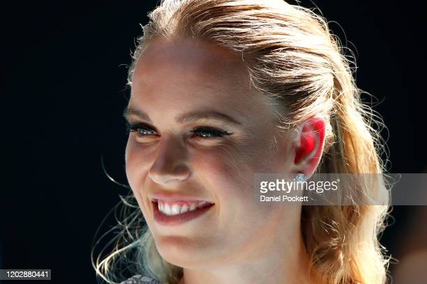 Caroline Wozniacki is interviewed during the women's day ceremony on Rod Laver Arena on day eleven of the 2020 Australian Open at Melbourne Park on...